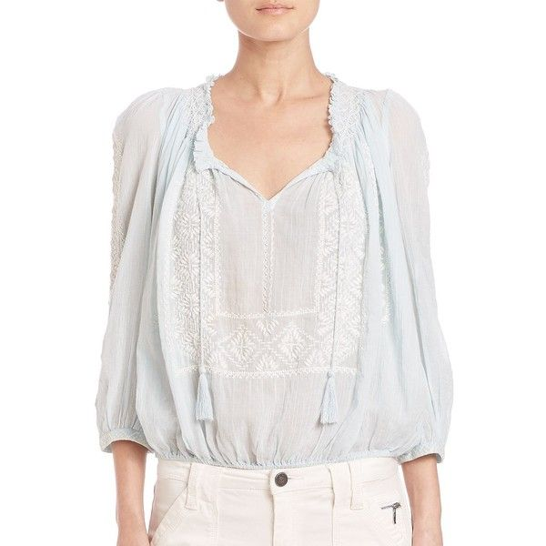 Joie Callway Embroidered Cotton Blouse ($240) ❤ liked on Polyvore featuring tops, blouses, apparel & accessories, 3/4 sleeve blouse, cotton peasant blouse, peasant blouse, white frilly blouse and tie front blouse