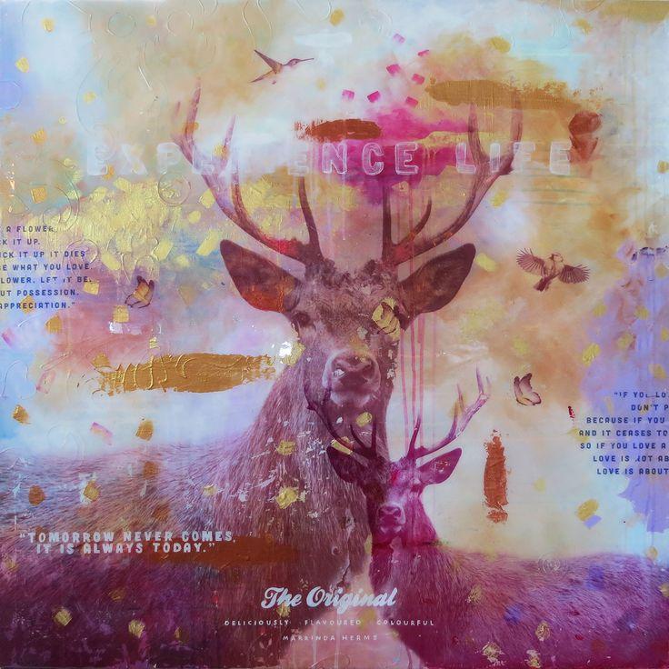 Kunst, schilderij, mixed media, art, hert, jagen, epoxy, resin, contemporary art, hedendaagse kunst door Marrinda Herms