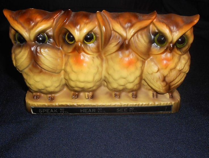 17 best images about ebay items i am selling on pinterest coffee tea vintage and stainless - Hear no evil owls ceramic ...