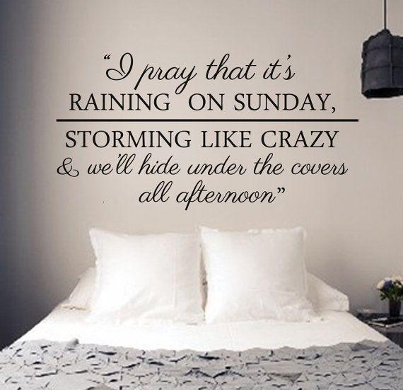 Raining on Sunday Wall Decal  LARGE  Keith Urban by WallAffection, £26.00