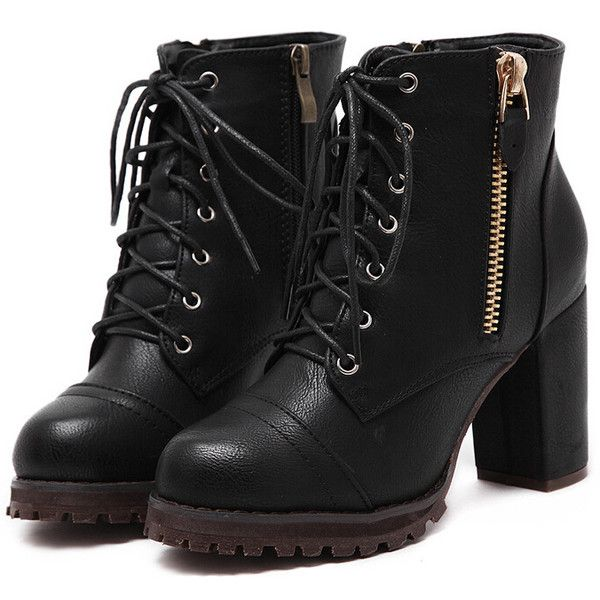 Black Lace Up Zipper Chunky Boots (£20) ❤ liked on Polyvore featuring shoes, boots, botas, heels, footwear, black, side zip boots, chunky high heel boots, lace up boots and chunky boots