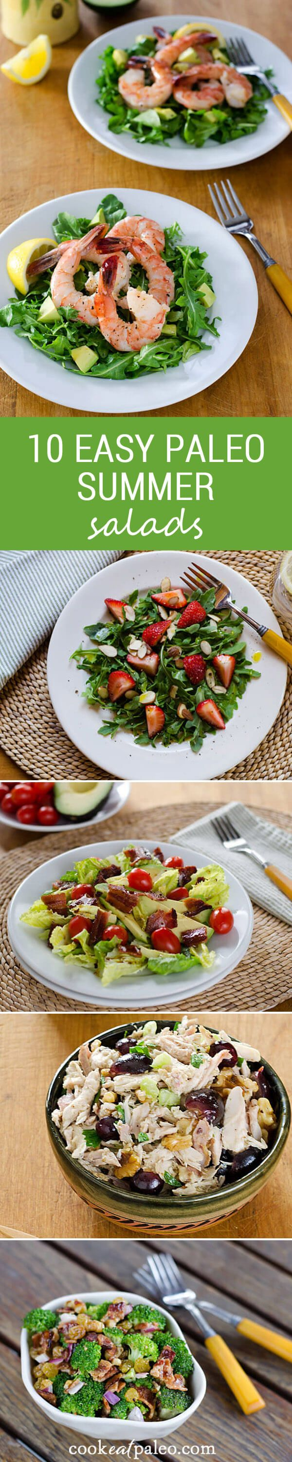Here are 10 easy paleo summer salads — including my all-time favorite. And 3 easy paleo dressing recipes. All are gluten-free, grain-free and dairy-free. ~ http://cookeatpaleo.com