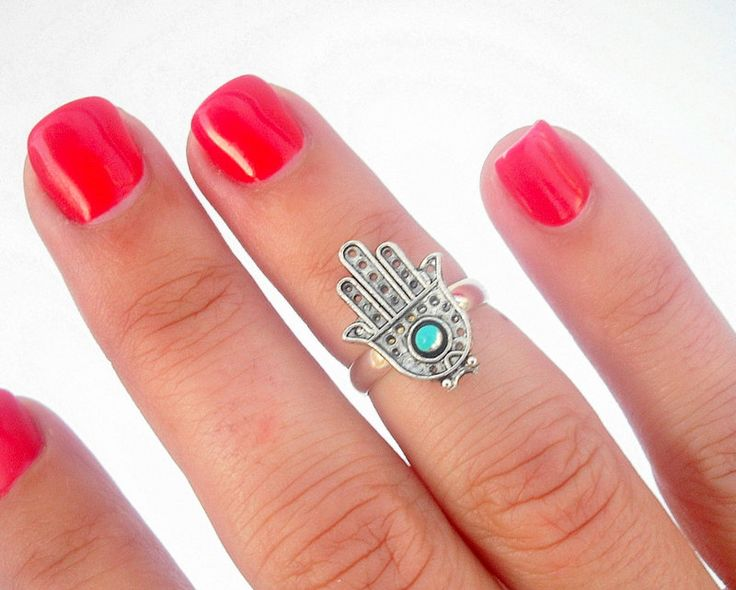 Protection Hamsa Above The Knuckle Ring