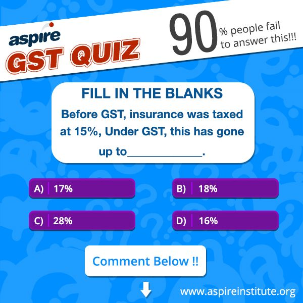 Fill In The Blanks Before Gst Insurance Was Taxed At 15 Under