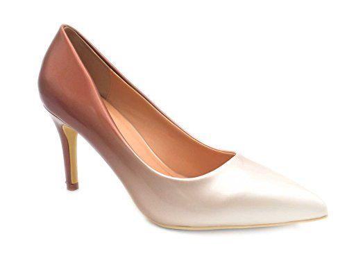 02146b0edfb9 Fashion Shoes Escarpin Femme Vernis Chaussures Escarpin Dégardés Escarpin  Talon Moyen 5CM OU 8CM