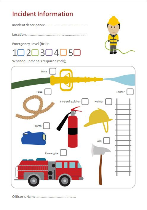 Fire Station Incident Form...Editable incident form ideal for use in fire station role-play scenarios in schools and early years settings.