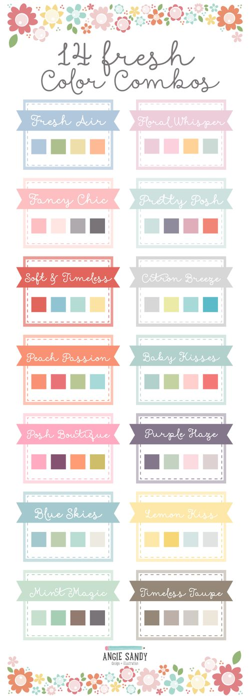 14 Fresh Color Palettes | Angie Sandy Art Licensing & Design #colorpalette #colorcrush #angiesandy