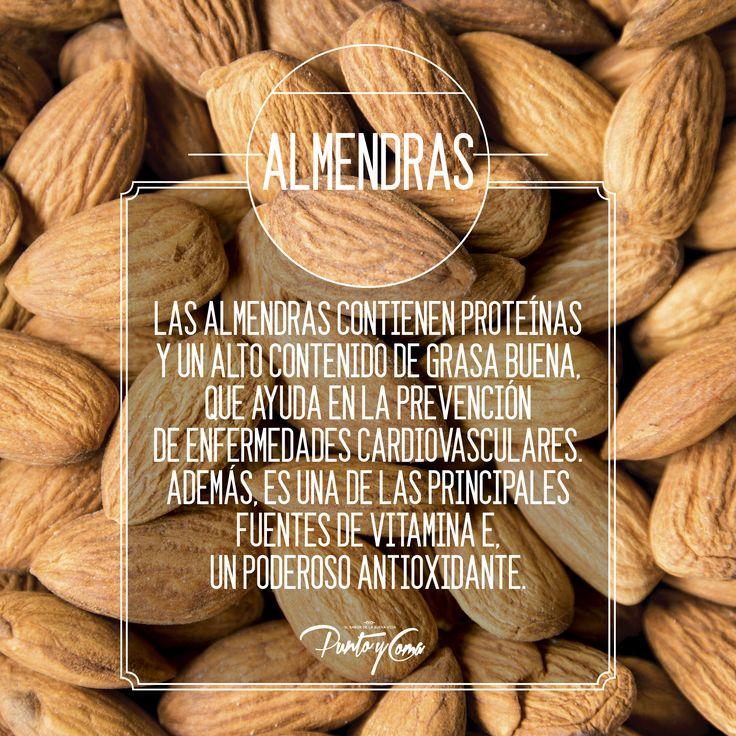 Las almendras contienen proteínas y un alto contenido de grasa buena, que ayuda en la prevención de enfermedades cardiovasculares. Además, es una de las principales fuentes de vitamina E, un poderoso antioxidante.