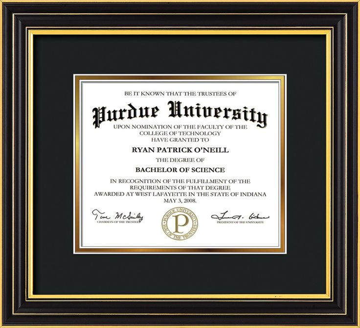 Purdue University Diploma Frame-Satin Black-No Embossing-Black on Gold - Official Diploma Frames