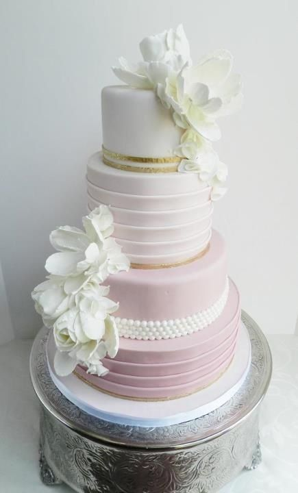 White into Pink Ombre Wedding Cake with Flower and Pearl Details
