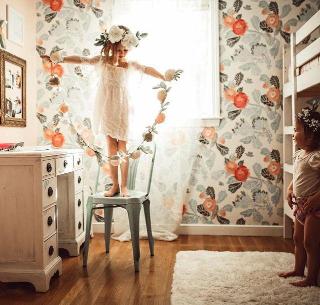 Beautiful Anthropologie Wallpaper In Little Girls Bedroom
