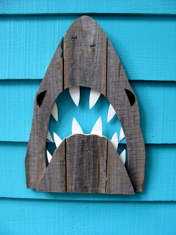 Wooden Shark Decor made of recycled fence wood. JAWS Great