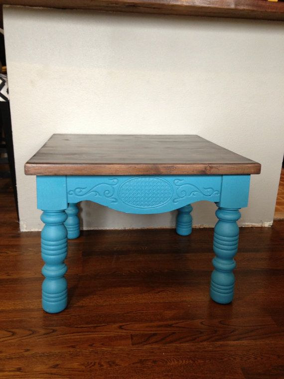 Buy Butcher Block Table Top: Beautiful Teal Butcher Block Table By RefinedDUST On Etsy