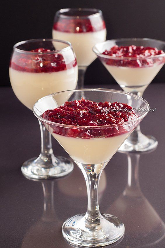 Нежный, лёгкий, красивый и вкусный десерт. При желании, сливки можно заменить на молоко, получится ещё диетичнее и ничем не хуже. Для конфит можно взять любую ягоду…