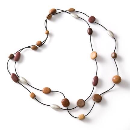 Necklace. Sterling silver and different exotic woods on leather. Handmade by Jenny Greco