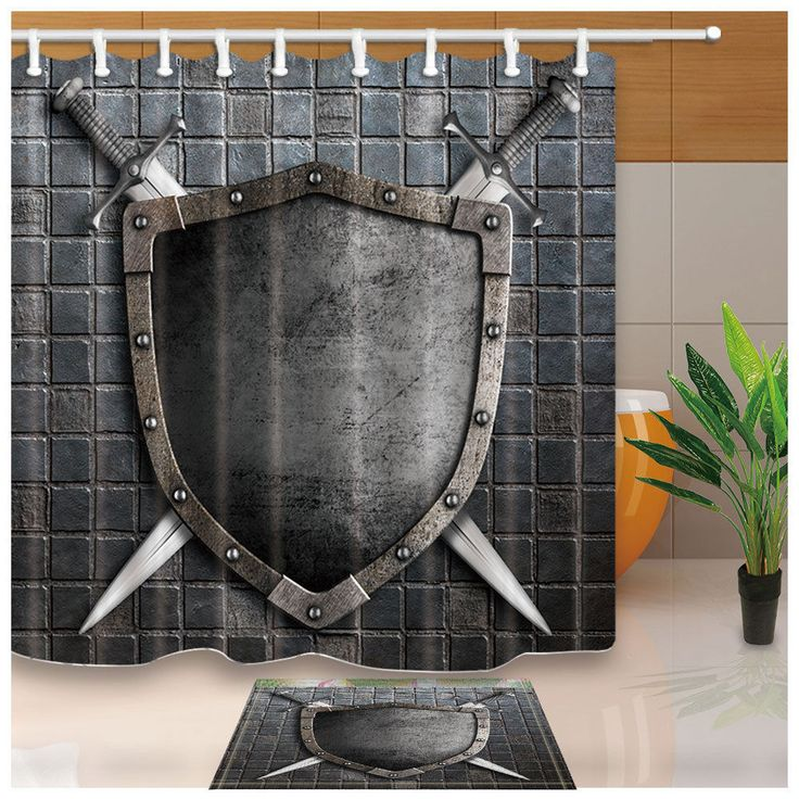Medieval Shield With Crossed Swords Bathroom Fabric Shower Curtain Set 71Inch