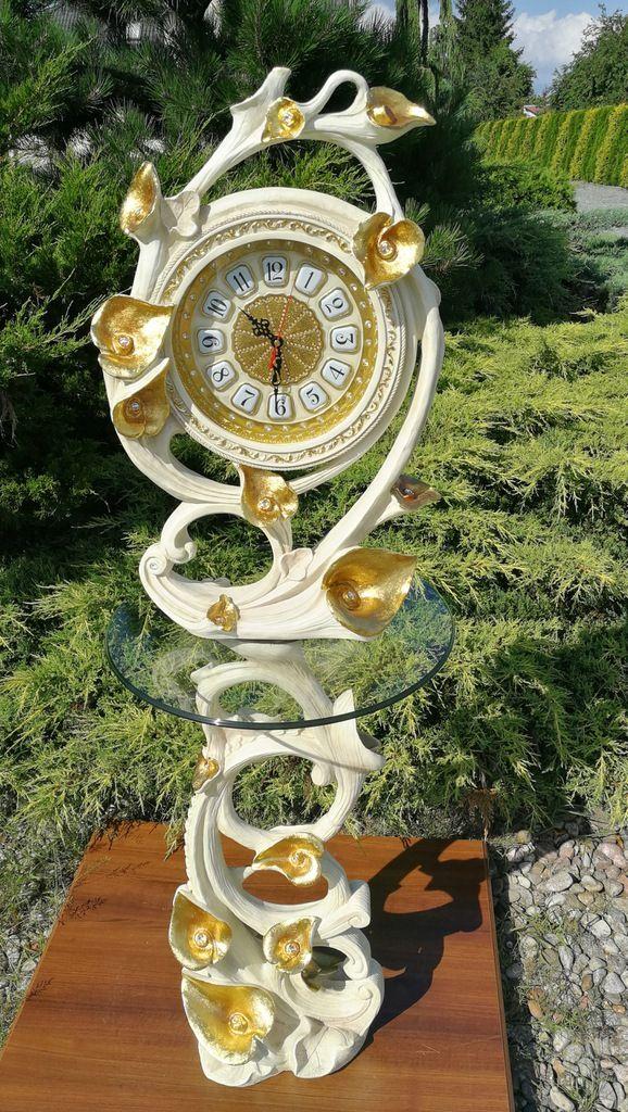 Zegar Stojący Motyw Kwiatów Biało Złoty Do Pałacu Allegro