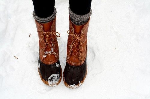 Warm and comfy in LL Bean Duck Boots - think ill need these sooner than later.
