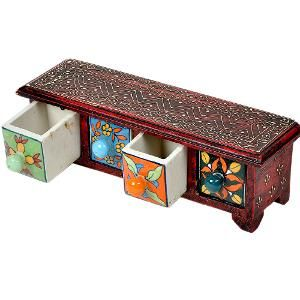 Wooden Ceramic 4 Drawer Handicraft Set by Little India