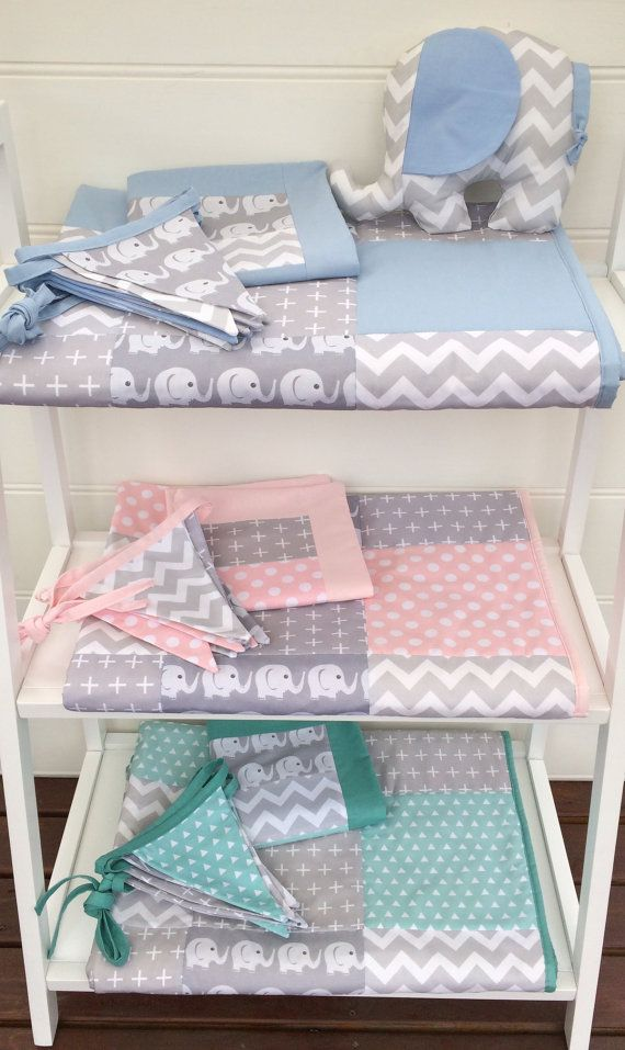 Patchwork cot quilt in Baby Blue and Grey Elephants with