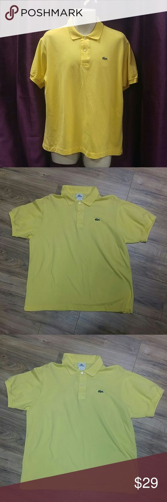 Lacoste Men XL 6 butter yellow polo collar shirt In gently used condition. Color is most accurate on purple background. See size chart. 6 is equivalent to US size XL. Lacoste Shirts Polos
