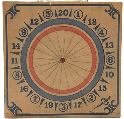 Vintage look dart board is fun and works great with an industrial modern decor