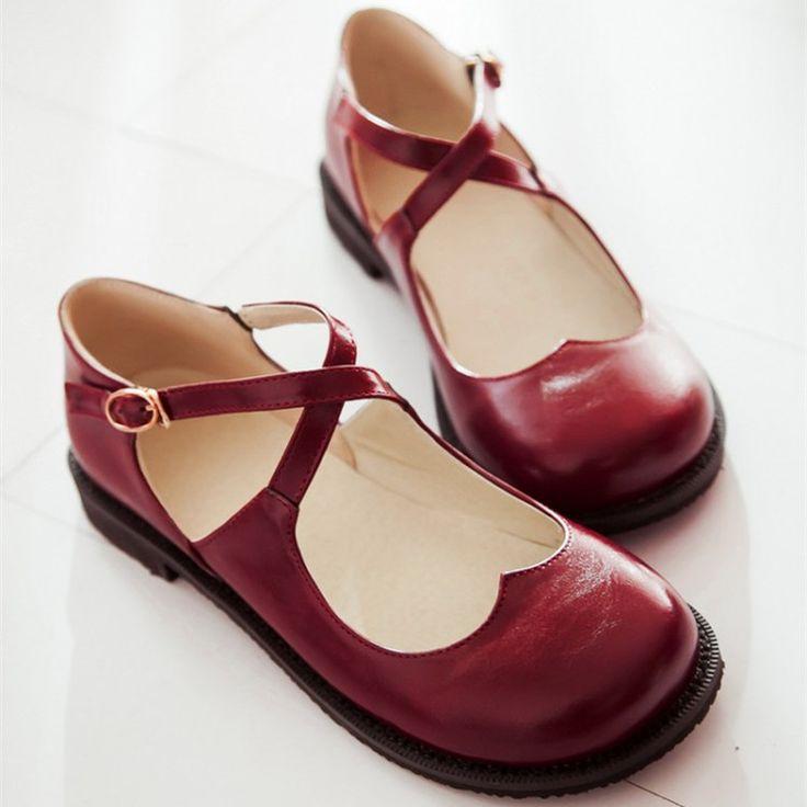 Nuevo estilo Vintage punta redonda Mary Jane zapatos planos para mujer de tacón bajo dulce zapatos lindos de la muñeca Lolita zapatos del barco mocasines tamaño grande 43 en Pisos de las mujeres de Zapatos en AliExpress.com | Alibaba Group