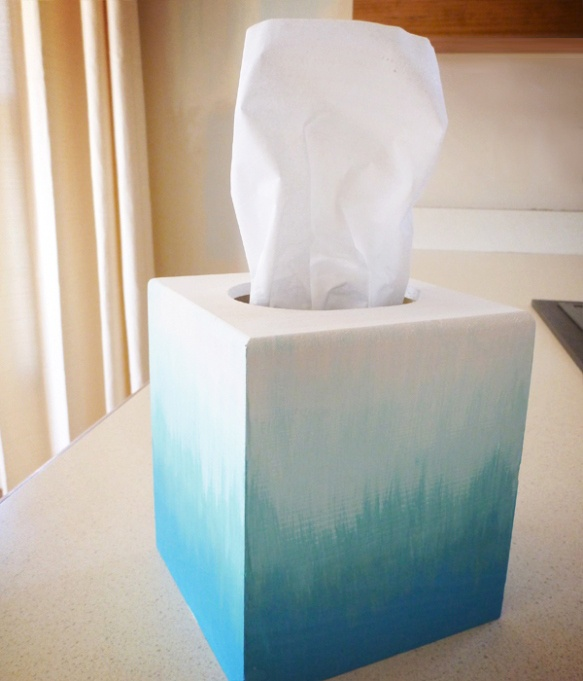 Ombre tissue box tutorial for dressing table