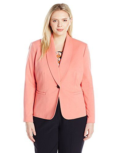 6e954b47cb4 Kasper Women s Plus Size Shawl Collar One Button Jacket
