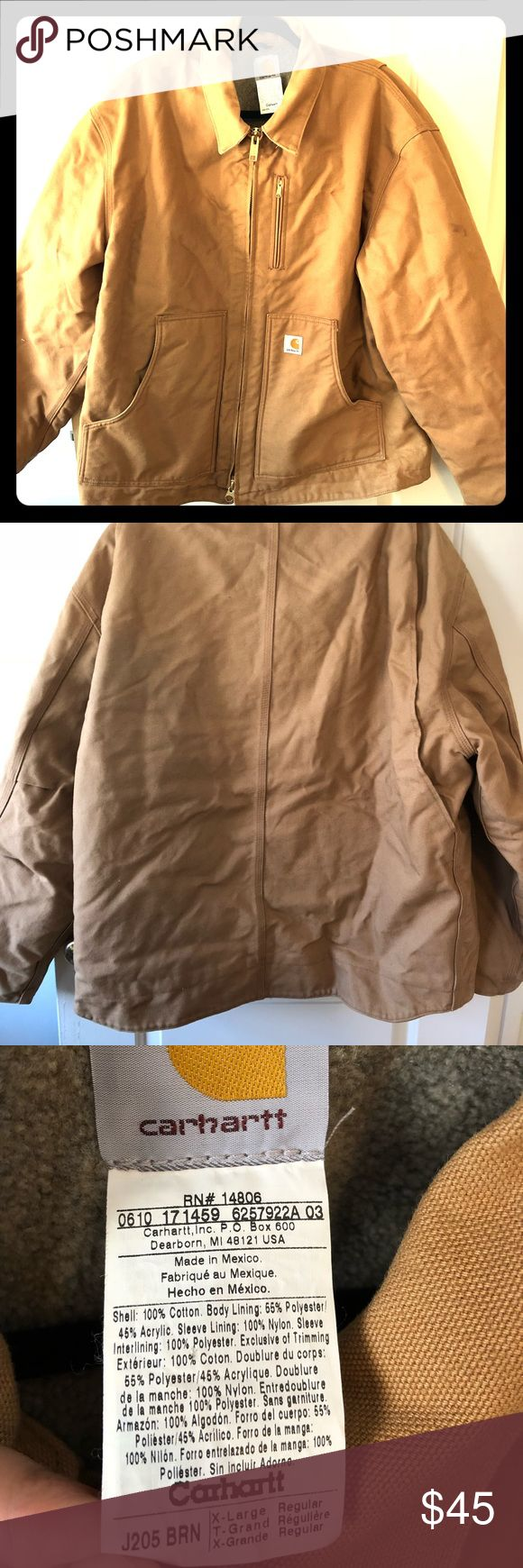 Carhartt jacket Men's XL winter jacket. Lightly worn, left upper sleeve has small stain, no ther damage. 2 inside pockets. Extra long back. Double zipper. Appears wrinkled from being in cramped closet. Carhartt Jackets & Coats