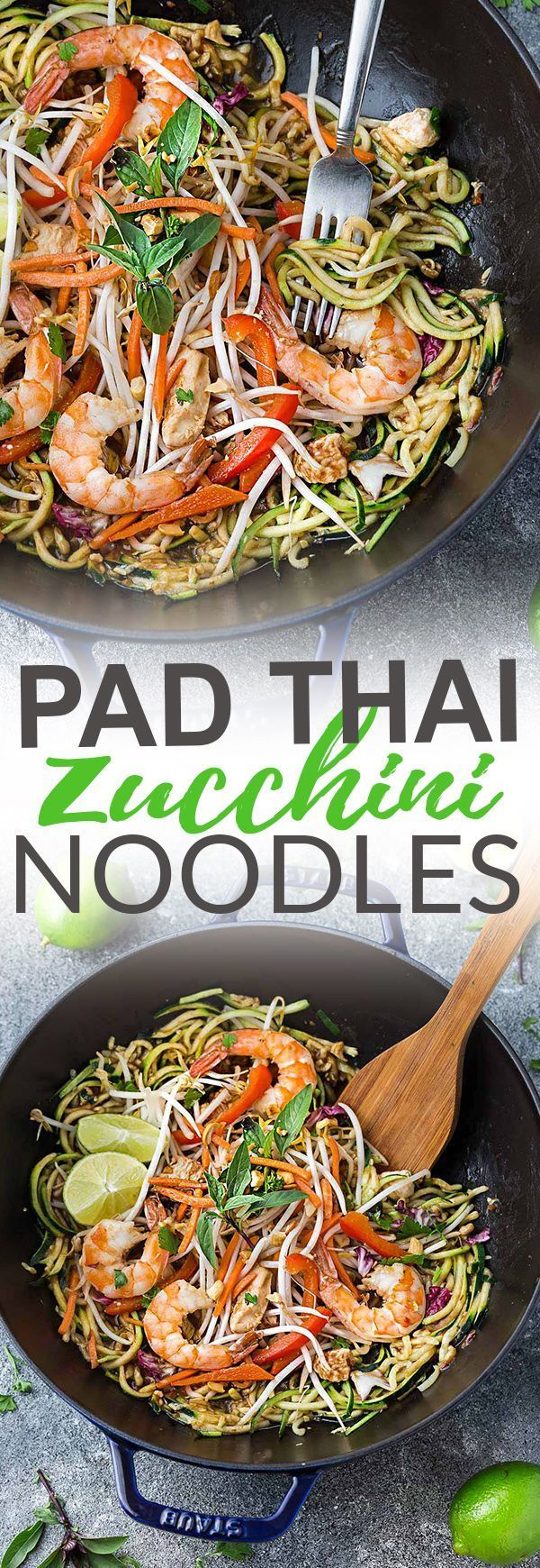 This recipe for Pad Thai Zucchini Noodles (Zoodles) is the perfect easy 30 minute one pan stir-fry meal. Best of all, it's full of all the authentic flavors of the popular restaurant favorite in a grain free version. So delicious and way better and health