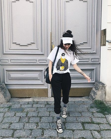 Get this look: http://lb.nu/look/8853415  More looks by Frankie Miles: http://lb.nu/frankiemiles666  Items in this look:  New Balance Cap, Cheesus White Shirt, Wemoto Black Pants, Jost Leather Bucketbag, Converse Chucks, Goodbois Tennis Socks   #streetwear #streetstyle #wemoto #fashionblogger_de