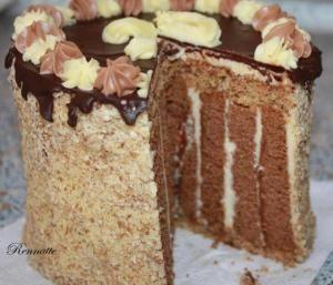 Pruhovaná čokoládová torta