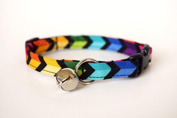 $ 16.50 Rainbow Cat Collar, Breakaway Cat Collar, Handmade Cat Collar, Cute Cat Accessories, Pet Accessories, Fabric Cat Collar, LGBT Pride Collar