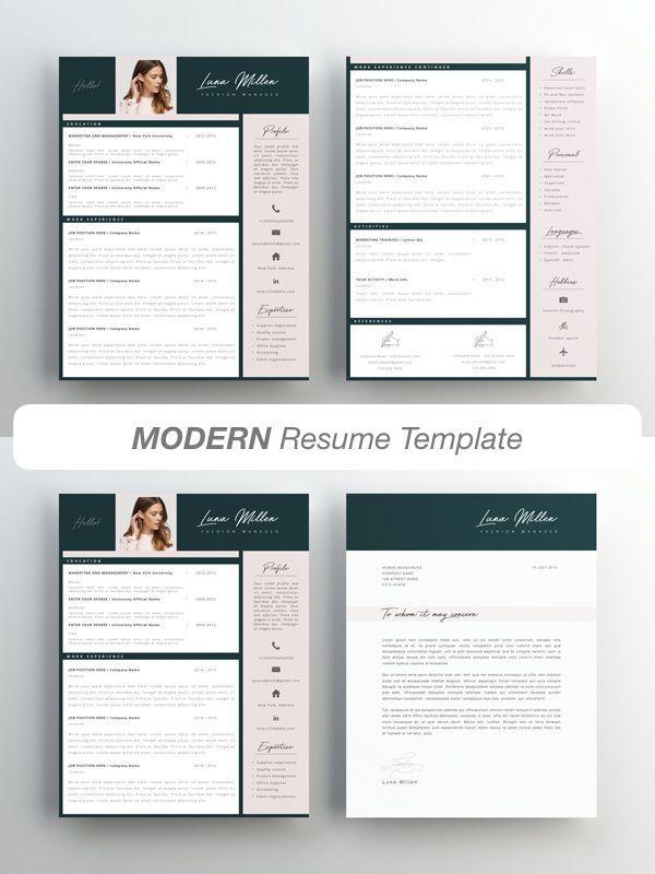 Fashion Resume Cv Template Resume Template Creative Resume Etsy In 2021 Resume Template Creative Resume Templates Graphic Design Resume