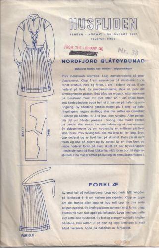 Norwegian Cotton Costume Pattern, Nordfjord Blåtøy Bunad, Husfliden Norway