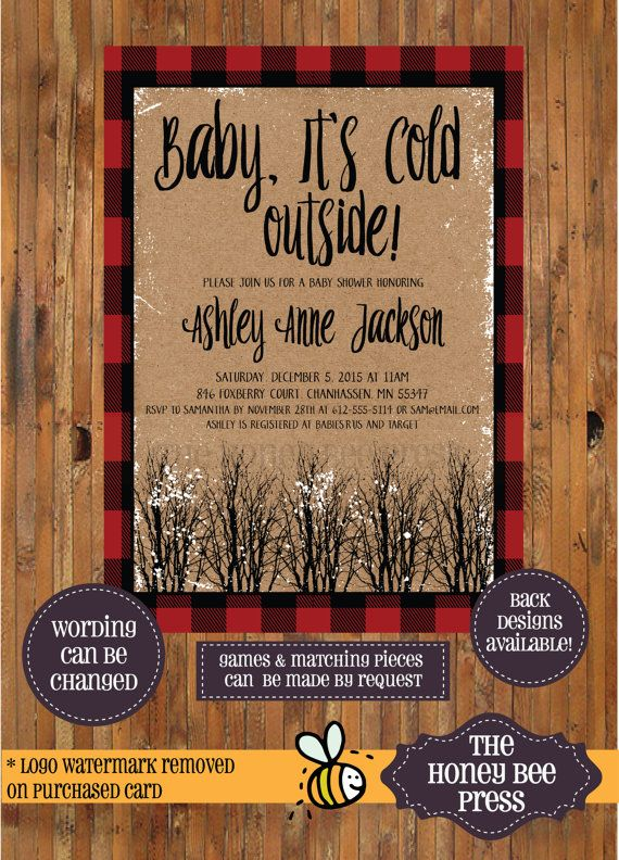 Baby It's Cold Outside Invitation - Winter Baby Shower - Snowy trees - Rustic Baby Shower - Buffalo Check - Winter Baby - Woods - by The Honey Bee Press
