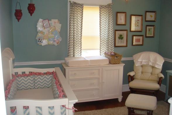baby nursery: Decor Ideas, Wall Color, Small Nurseries, Nursery Ideas, Baby Rooms, Gender Neutral Nurseries, Nurseries Ideas, Baby Nurseries, Blue Nurseries