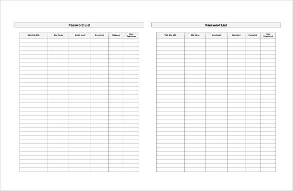 Password Log Templates 9 Free Printable Word Excel Pdf