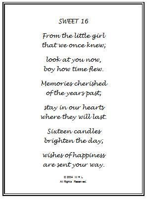 Poem 16th Birthday Wishes Gifts For Girls Daughter Happy