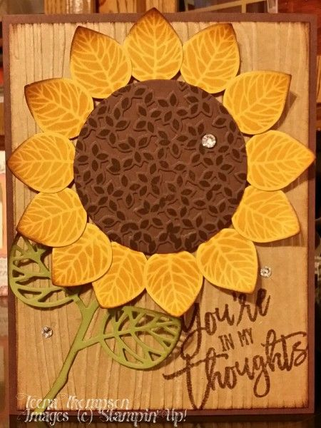 handmade card with a giant sunflower created with the Thoughtful Branches stamps and dies set ... luv it on the woodgrain embossed background ...