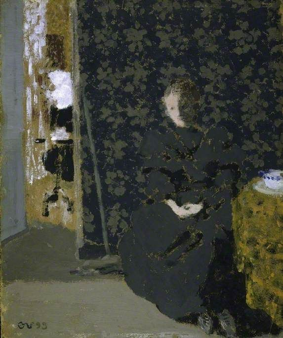 Edouard Vuillard (French, 1868-1940), The Artist's Sister with a Cup of Coffee, 1893. Distemper on card.