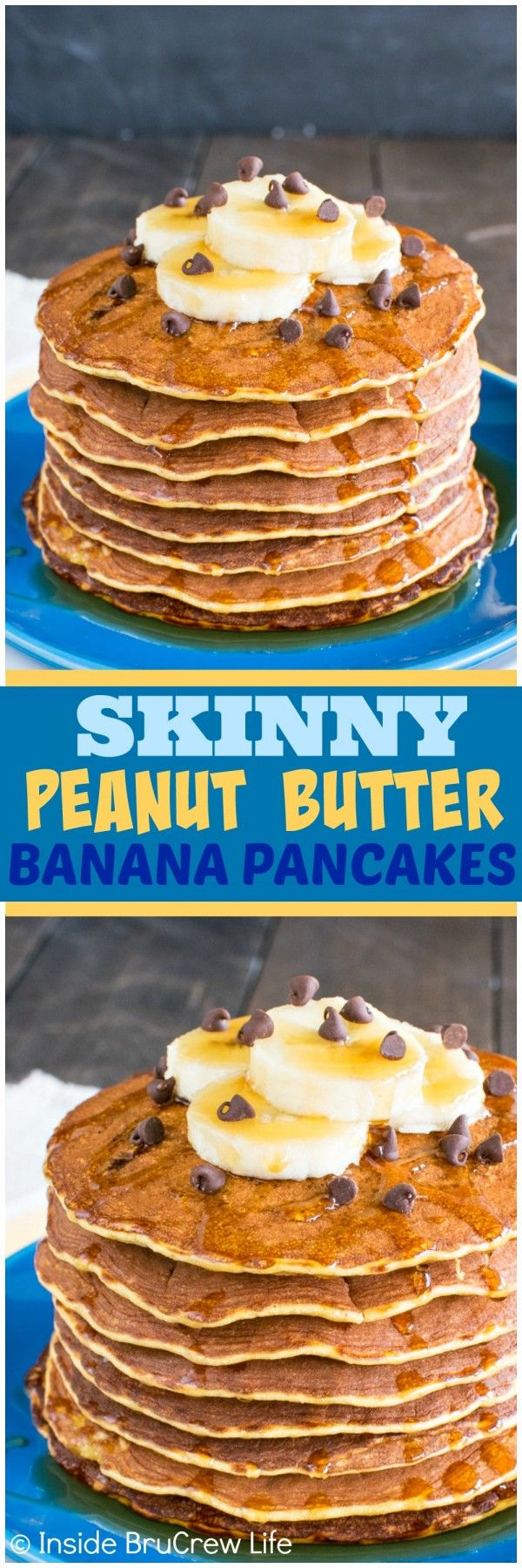 Skinny Peanut Butter Banana Pancakes - these easy pancakes are made with eggs, bananas, and peanut butter powder. Perfect healthy recipe to start out the day!