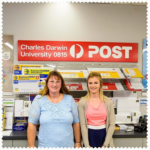 The mother-daughter team at the Charles Darwin Uni Post Office in Casuarina, 0810.  #AustraliaConnected, #Australia, #NorthernTerritory, #Darwin, #CharlesDarwinUniversity, #PostOffice, #Darwinning, #Casuarina, #postcode0810.