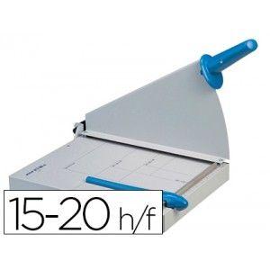 Compre esta magnifica guillotina metálica de palanca con guillotin de hoja, cortes rectos, con base sólida metálica donde indica los distintos formatos de papel. Protección de seguridad metálica. Capacidad de corte: 15/20 hojas, longitud de corte: 360 mm.