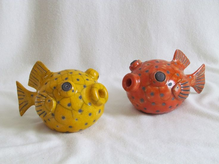 sculpture raku poisson coffre diodon animaux céramique grès artisanal fait main Jean-Pierre Meyer