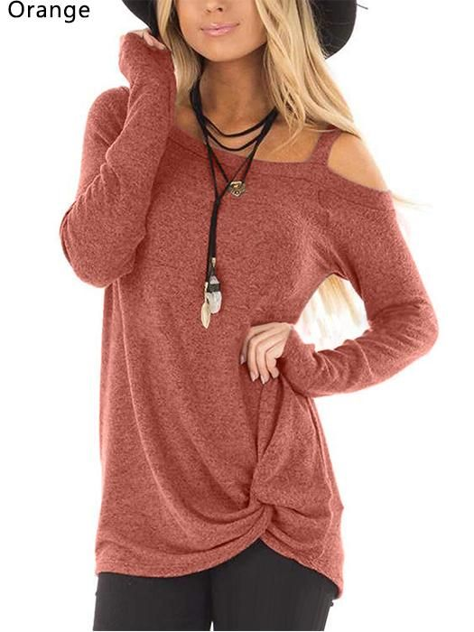 3fd56bf2da5b1 Casual Loose Long Sleeve Cold Shoulder Solid Color Tunic Tops in ...