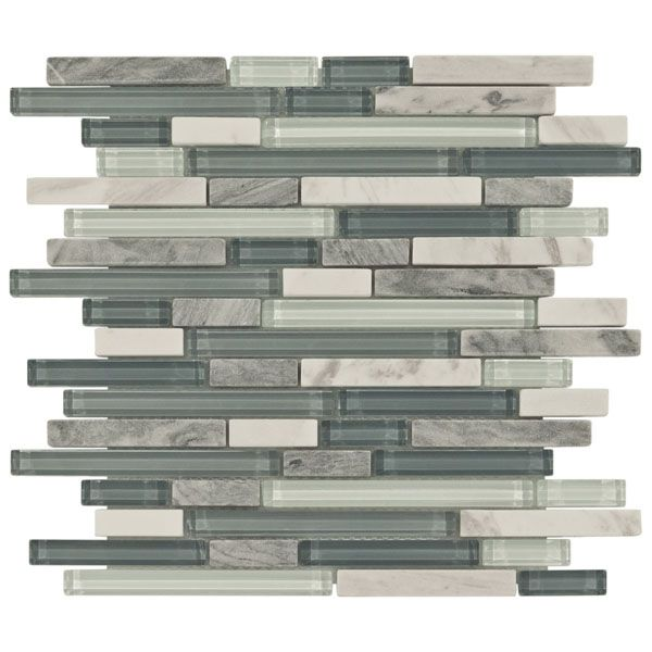 Waterfall Backsplash: Bliss Waterfall Glass Stone Linear Blend Mosaic Tile: So