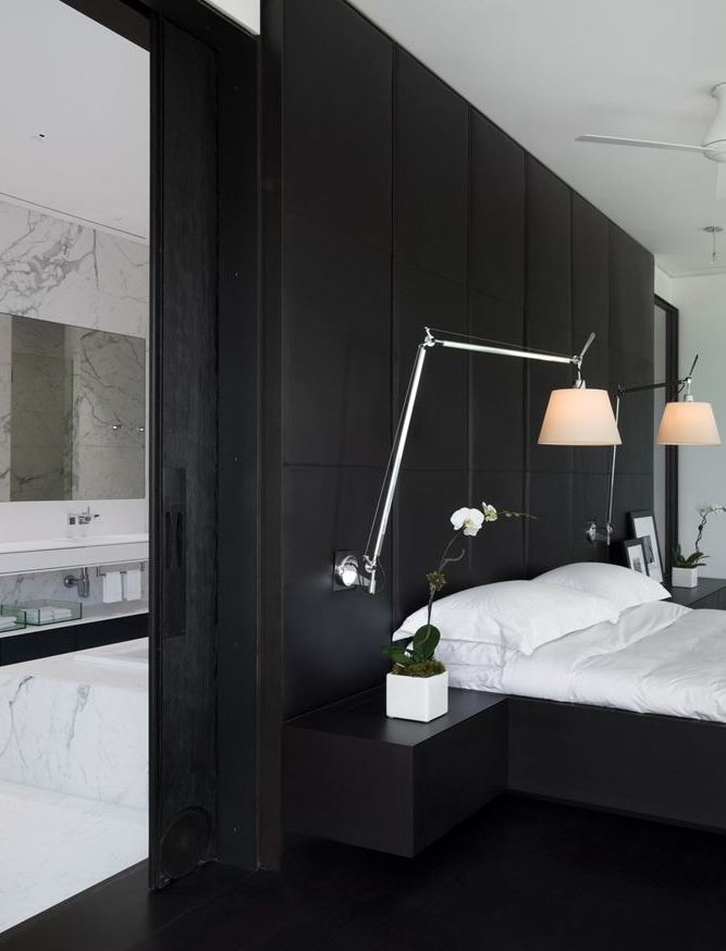 lovely lamps and black walls