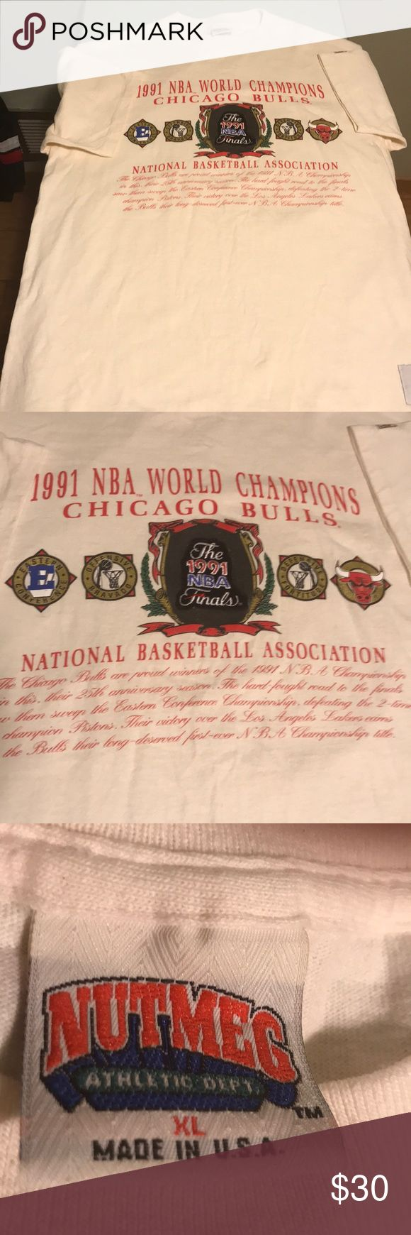Vintage Chicago Bulls shirt 1991 Classic  Bulls championship shirt size XL. There are no rips stains or tears and is by Nutmeg Shirts Tees - Short Sleeve